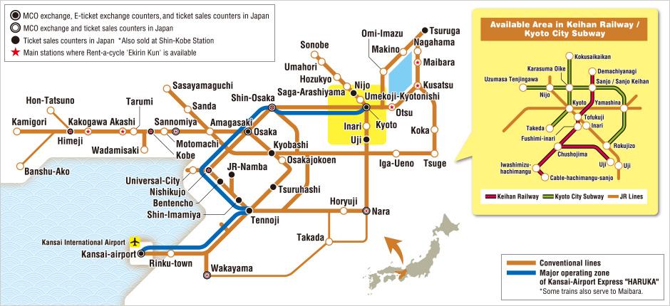 Kansai Area Pass Map Japan Osaka