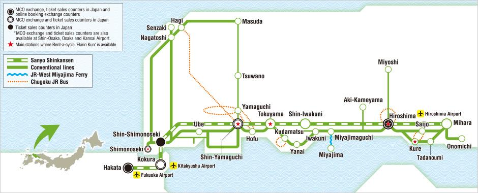 JR West Hiroshima Yamaguchi Area Pass Map Japan Osaka