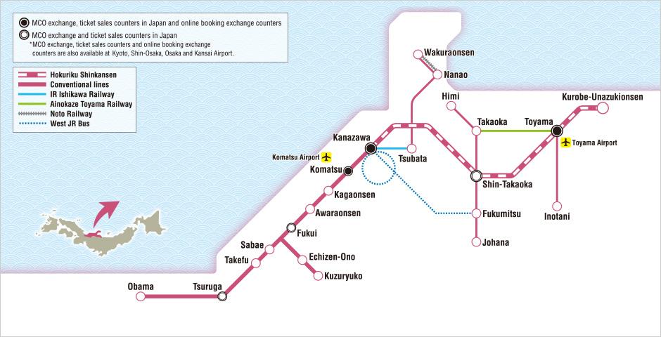 JR West Hokuriku Area Pass Map Japan Osaka