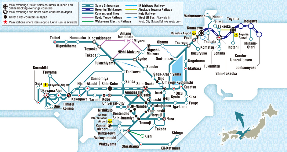JR West Kansai Hokuriku Area Pass Map Japan Osaka
