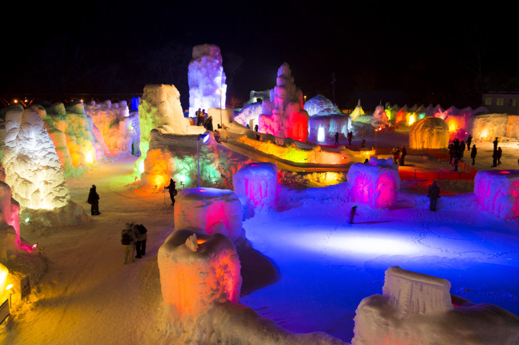 Hokkaido Sapporo Lake Shikotsu Evening Light-up Ice Festival
