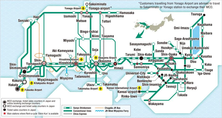 JR West Sanyo Sanin Area Pass Map Japan Osaka