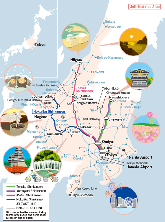 JR East Nagano Niigata Area Pass Map Japan