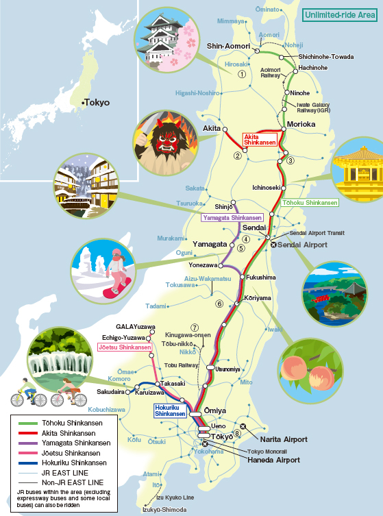 JR East Tohoku Area Pass Map Japan