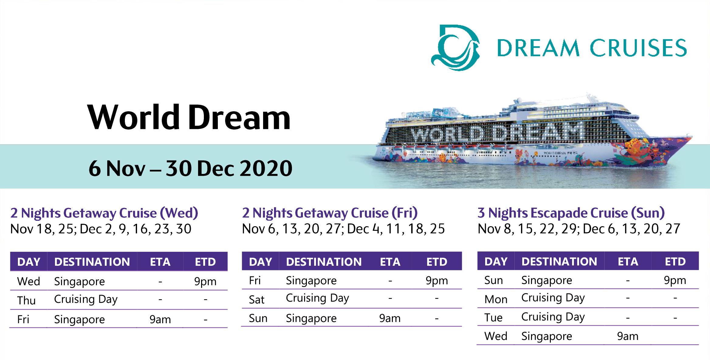 HIS Travel Dream Cruise Schedule November - December 2020 Dates